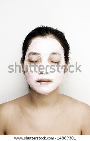 Asian woman with facial mask