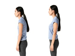 Asian woman with poor and good posture on white background
