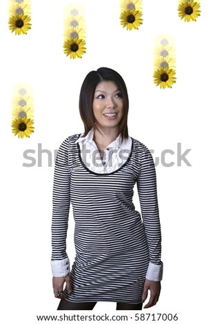 Asian woman with raining dasies.  She was 23 at the time of shoot.