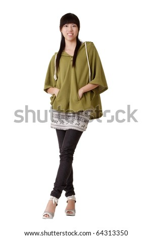 Asian woman with smiling expression, full length portrait isolated on white.