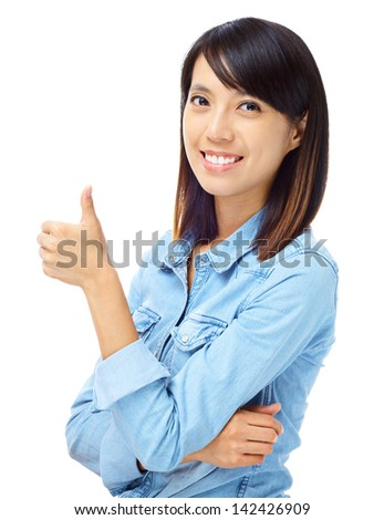Asian woman with thumb up hand