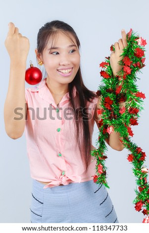 Asian women are decorated for Christmas.
