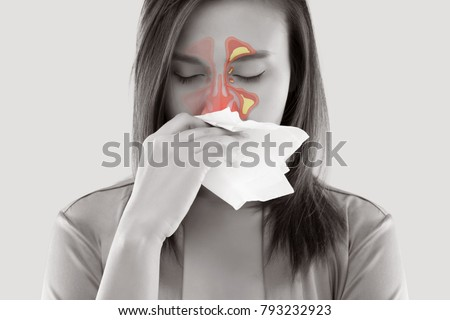 Asian Women In Satin Nightwear Feeling Unwell And Sinus Against White Background, Dust Allergies, Flu, People Caught Cold And Allergy