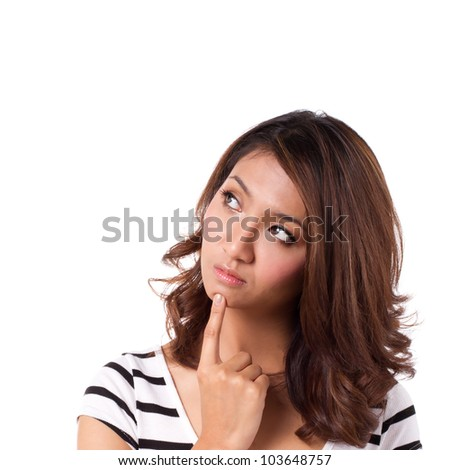 asian women looking with curiosity on isolated white background