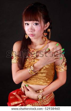 Asian women wearing Thai national.