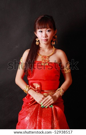 Asian women wearing Thai national.
