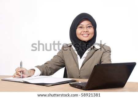 Asian women with a laptop and isolated background