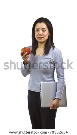 Asian women with apple snack and notebook on side