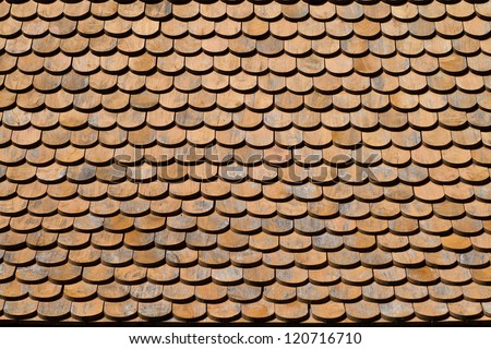 asian wooden roof texture - stock photo