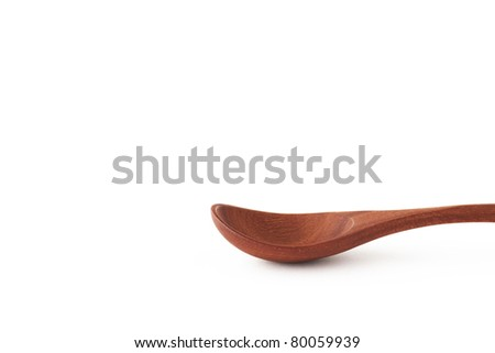Asian wooden spoon on white background.