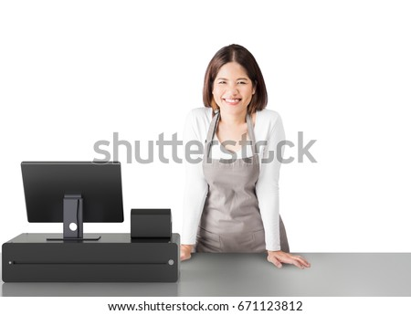 asian worker with cashier desk on white background Сток-фото ©