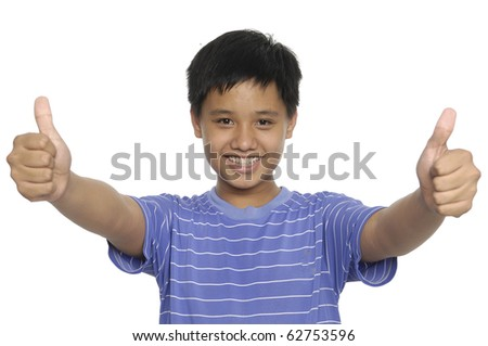 Asian young boy with thumb up
