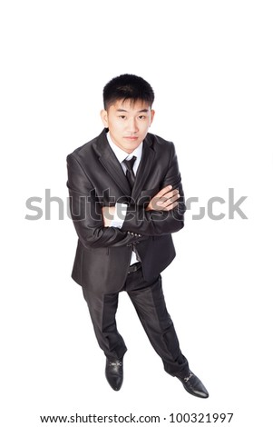 asian young business man confident serious, top angle view full length portrait of angry businessman folded hands wear elegant suit and tie isolated over white background