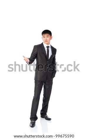 asian young business man confused unsure hold hand gesture ask question, uncertain businessman wear elegant suit and tie full length portrait isolated over white background