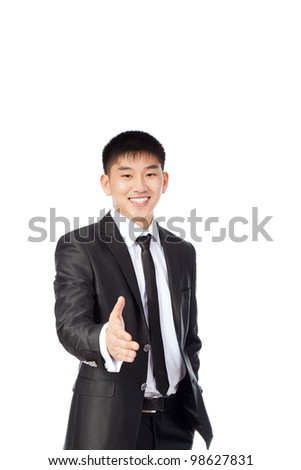 asian young business man handshake, hold hand welcome gesture happy smile, portrait businessman wear suit and tie isolated over white background