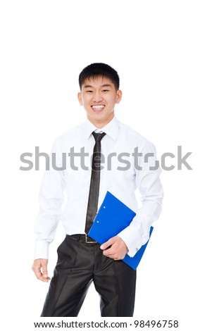 asian young business man happy smile, businessman hold blue folder, clipboard wear shirt and tie isolated over white background