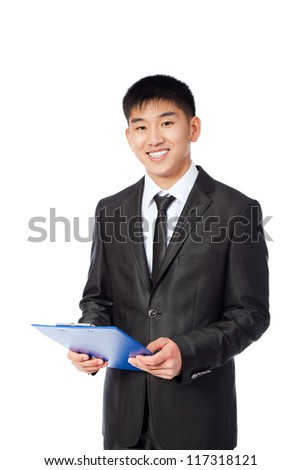 asian young business man happy smile, businessman hold blue folder, clipboard wear suit shirt and tie isolated over white background