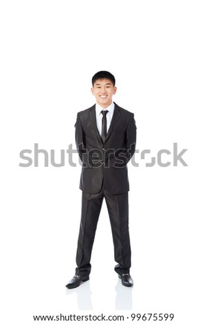 asian young business man happy smile, businessman wear elegant suit and tie full length portrait isolated over white background