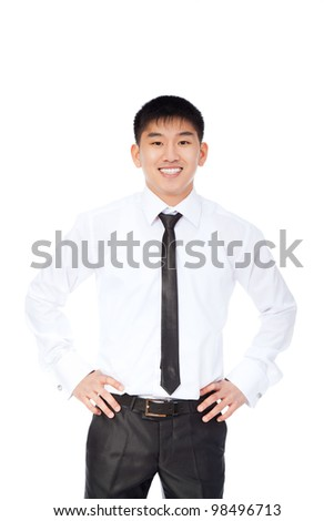 asian young business man happy smile, businessman wear shirt and tie isolated over white background