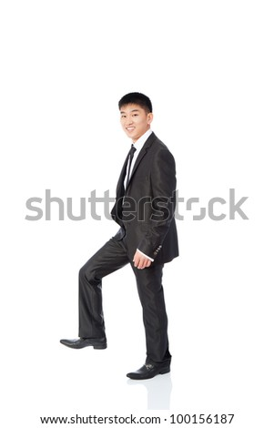 asian young business man happy smile go making step up forward, businessman walk wear elegant suit and tie full length portrait isolated over white background