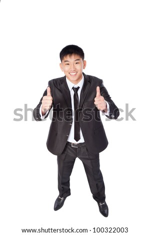 asian young business man hold hand with thumb up gesture, handsome businessman happy smile, wear elegant suit and tie, top angle view full length portrait isolated over white background