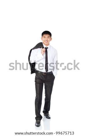 asian young business man relaxed happy smile, businessman walking make step forward hold jacket on shoulder back elegant suit and tie full length portrait isolated over white background