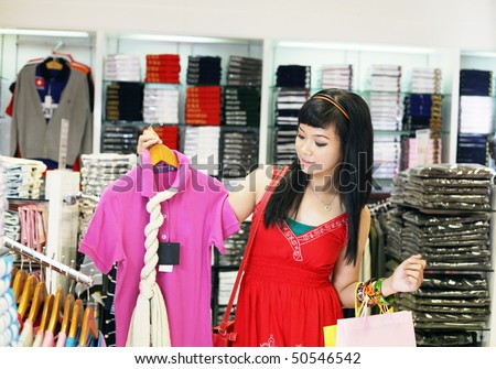 asian young female shopping