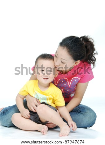 Asian young mother  with cute child