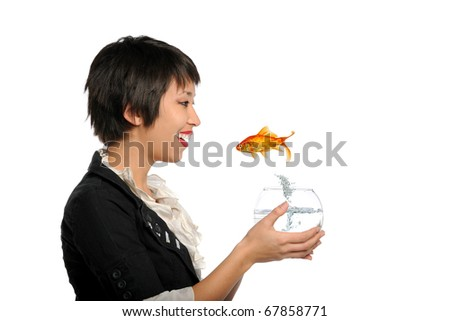 Asian Young Woman holding tank with gold fish jumping isolated on a white background