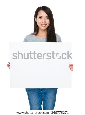 Asian Young Woman showing with white banner