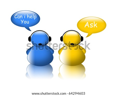 Ask help icon. Agent on phone