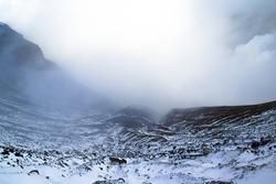 Aso Volcano in Winter; Japan