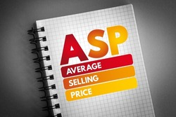 ASP - Average Selling Price acronym on notepad, business concept background