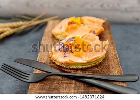 Asparagus salmon tartlets chiffonade, pickled vegetables, creamy creamy #1482371624