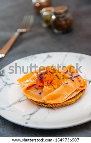 Asparagus salmon tartlets chiffonade, pickled vegetables, creamy creamy #1549736507