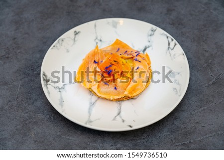 Asparagus salmon tartlets chiffonade, pickled vegetables, creamy creamy #1549736510