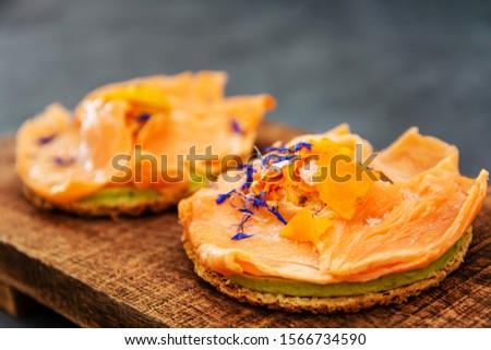 Asparagus salmon tartlets chiffonade, pickled vegetables, creamy creamy #1566734590