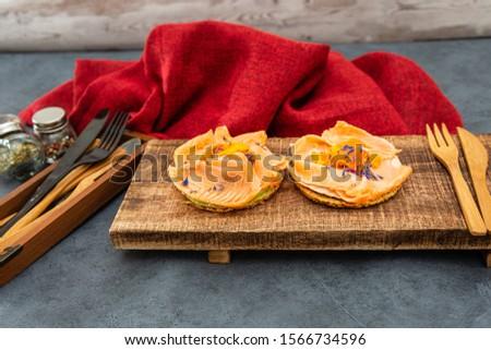 Asparagus salmon tartlets chiffonade, pickled vegetables, creamy creamy #1566734596