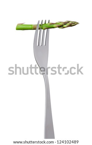 asparagus spear on a fork isolated against white background