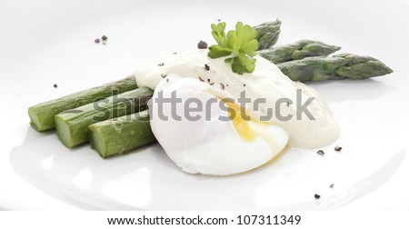 Asparagus with Poached Eggs.
