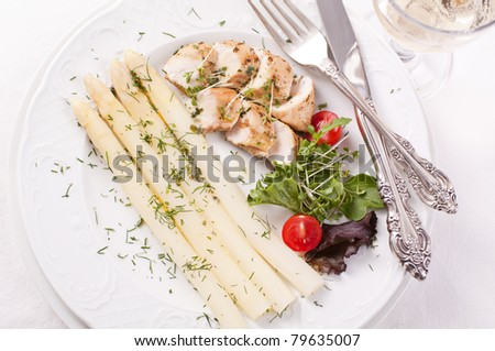 Asparagus with rabbit fillet