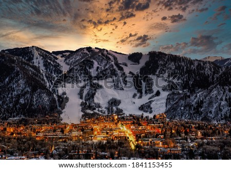 Photo of  Aspen city skyline with dramatic sunset