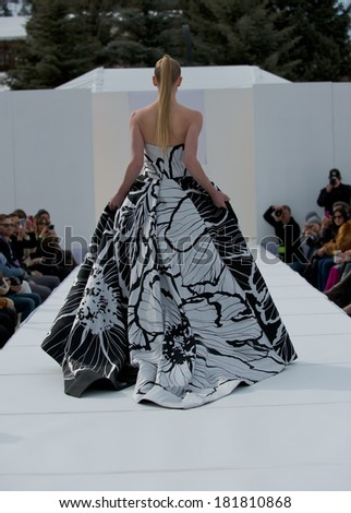 ASPEN, CO -MARCH 13: Designer Dennis Basso is presenting at the Aspen International Fashion Week in Aspen, Colorado on March 13, 2014