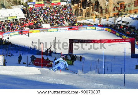 ASPEN, CO - NOV 27:  Sarka Zahrobska at the Audi Quattro FIS World Cup Slalom race in Aspen, CO on Nov 27, 2011