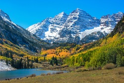 Aspen Colorful Autumun under Snow Mountain with Lake
