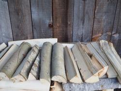 aspen firewood in the barn