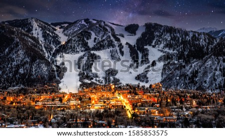Photo of  Aspen skyline with stars and snow