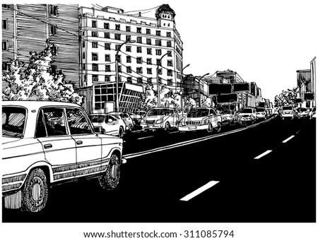 Asphalt black road. City view urban scene. Black and white dashed style sketch, line art, drawing with pen and ink. Western classical trend of book illustration and comic art. Retro vintage picture.