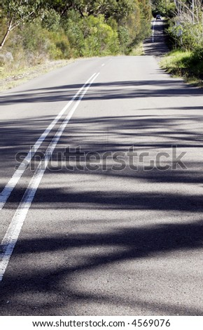 Asphalt Country Road Winding Down A Hill, Sunny Day, Shadows On Street