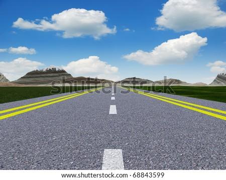 Asphalt road. A transport highway with the blue sky. A transport highway with the blue sky